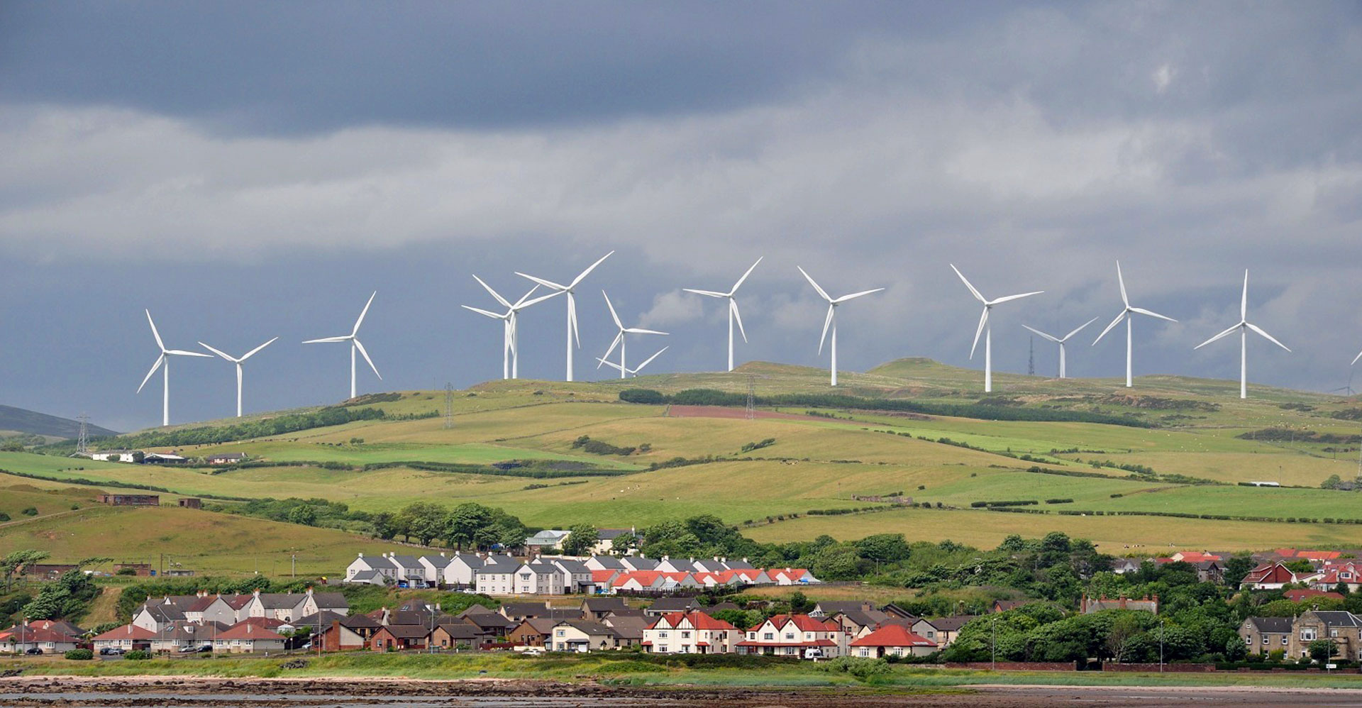 ardrossan village and wind turbines